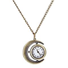 Kvinder Vintage Runde Dial Crescent Mønster Quartz Analog halskæde ur