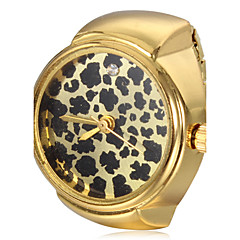 Kvinners Leopard OPPSKRIFT gull legering Quartz Ring Watch