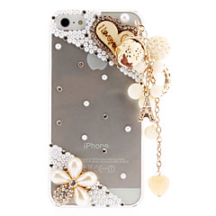Mooie Parels en Diamant Transparant Hard Case met Delicate Opknoping Ornament voor iPhone 5/5S