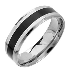 (1pc) Fashion Black And White Titanium Steel Band Ring Jewelry