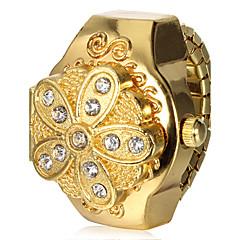 Women's Gold Flower Cover Alloy Quartz Ring Watch