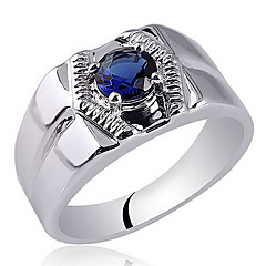 Solitary Stone Men's  Rhodium Finish Sterling Silver Ring With Cubic Zirconia