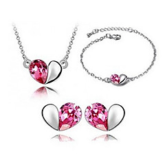 mode forsølvet (inkluderer halskæde og øreringe og armbånd) smykker sæt (blå, pink, lilla)