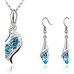 Jewelry Set Drop Earrings Pendant Necklaces Earrings Crystal Rhinestones Fashion ElegantCrystal Cubic Zirconia Silver Plated Imitation