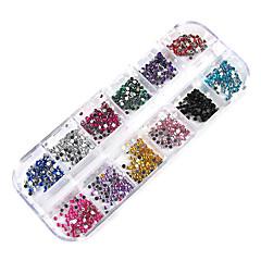 3000pcs 12-kleur 2mm wiel nail art glitter tips strass versieringen