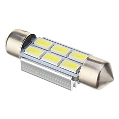 Pinol 2W 6x5730SMD 140LM ​​6000K Cool White Light LED pære til bil (DC 12V, 39mm, 1stk)