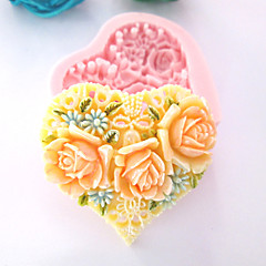 3D Heart Flowers Silicone Mold Fondant Molds Sugar Craft Tools Chocolate Mould  For Cakes