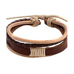 Punk 5.4cm Men's coffee Leather Leather Bracelet (1 Pc)