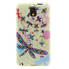 Skimrande Ground Colorful Dragonfly Pattern plast Mjuk Skyddande Tillbaka Case Cover för Samsung Galaxy Anmärkning 3 N9000
