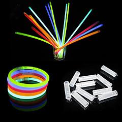 100PCS 6-color Mixed-color Fluorescent Bracelets Night Glow Stick(Random Color)