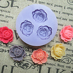 الزهور ثلاثة ثقوب زهرة قالب سيليكون أدوات أقراص سكرية قوالب السكر الحرفية الراتنج قوالب للكعك