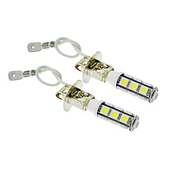 H3 6W 13x5060SMD 450LM 5500-6500K Cool White Light LED pære for bil (12V, 2stk)