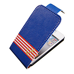 Navy Stripe Up-Down Turn Over PU Leather Full Bady Case for iPhone 4/4S