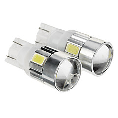 T10 149 W5W 1W 6x5730SMD 80LM 6000K Cool White Light LED pære for bil (12-14V, 2stk)