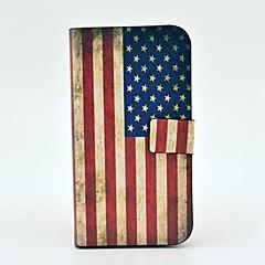 Retro US Flag Mønster PU Læder Case med magnetisk snap og Card Slot til Samsung Galaxy S4 I9500