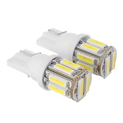T10 2.5W 175LM 6000K 10x7020SMD refrescan la lámpara LED de luz blanca para coche (12V DC, 2 unidades)