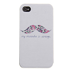 Mustache with Flower Pattern PU Leather Full Body Case for iPhone 4/4S