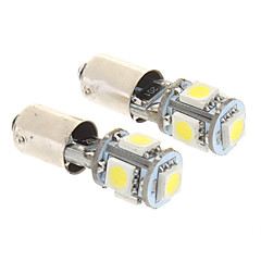 BA9S 2W 5x5050SMD 50-60LM 6000K Cool White Light LED Bulb for Car (12V,2 pcs)