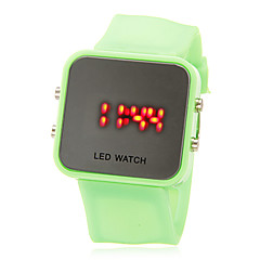 Unisex LED digital colorido brillante Square Funda de silicona banda reloj de pulsera (colores surtidos)