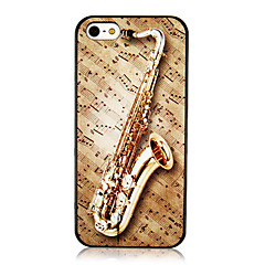 Vivid Gold Long Trumpet and Musical Note Pattern Back Case for iPhone 5/5S