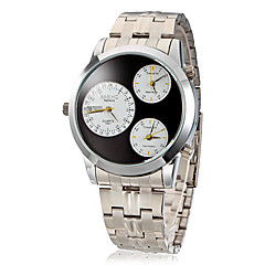 Men's Three Time Zones Silver Steel Band Quartz Analog Wrist Watch (Assorted Colors)