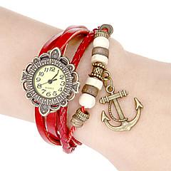 Damskie Modny Zegarek na nadgarstek Zegarek na bransoletce Japoński Kwarcowy Pasmo Postarzane Kwiat ArtystycznyBiały Niebieski Czerwony