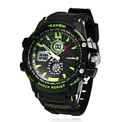 Men's Multi-Functional Round Dial Rubber Band LCD Digital Wrist Watch