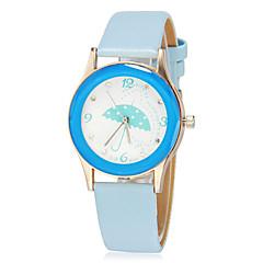 Parapluie Motif de fille PU bande de montre bracelet à quartz analogique (couleurs assorties)