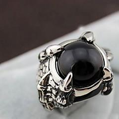 Z&X®  European Silver Alloy Dragon's Claw Men's  Black Agate Statement Rings(1 Pc)