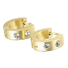 Gift For Boyfriend Fashion Rhinestone Gold Titanium Steel Stud Earrings (1 Pair)