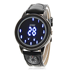 Men's Blue LED Digital Compass Function Leather Band Sports Wrist Watch