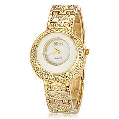 Women's Double Diamante Round Dial Alloy Band Quartz Analog Bracelet Watch (Assorted Colors)