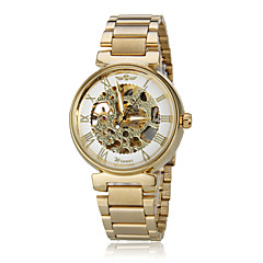 Unisex Auto-Mechanical Retro Golden Skeleton Steel Band Wrist Watch Cool Watches Unique Watches