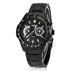 Men's Sporty Round Dial Tungsten Steel Band Quartz Analog Wrist Watch