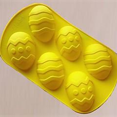 6 huller Påskeæg Shape Cake Mould silikone materiale, stor størrelse, tilfældig farve