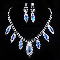 bryllup blå elegante rhinetone crytal ørering& halskæde smykker et
