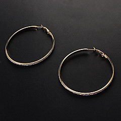 Fashion Assorted Color Alloy Hoop Earrings(Gold,Silver) (1 Pair)