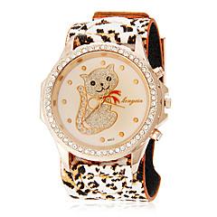 Women's Diamond Lovely Cat Pattern Leopard Print Rubber Band Quartz Analog Wrist Watch (Assorted Colors)