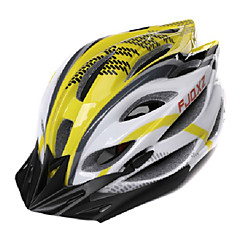 FJQXZ Unisex Outdoor PC+EPS 22 Vents Yellow+White Cycling Hlemets