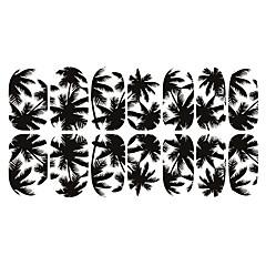 12PCS Black White Coconut Tree Luminous Nail Art Stickers