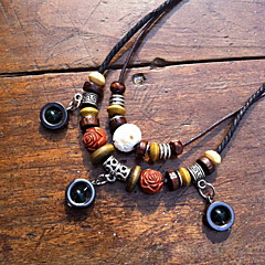 Ethnic Agate With Wood (Round Pendant) Black Fabric Statement Necklace (1 Pc)