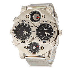 גברים שעונים צבאיים שעון יד קווארץ אזור זמן כפול מתכת אל חלד להקה כסף לבן שחור