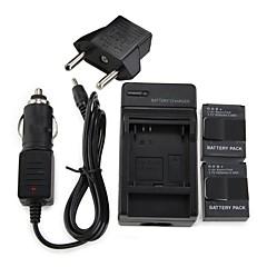 Conjunto de Baterias(AHDBT -301, 1600mAh, 2x) e Carregadores (Parede e Carro) + Adaptador EU para Câmera GoPro 3