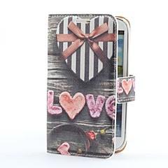 Heart Gift Box Style PU Läderfodral med kortplats och Bordsställ till Samsung Galaxy S3 i9300