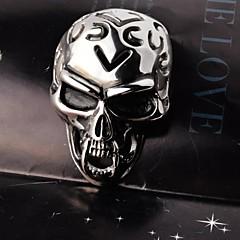 Fashion Vintage Men Skull Hollow Out Titanium Steel Pendant Necklace