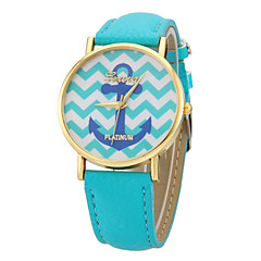Women's Anchor Pattern Colorful Dial PU Band Quartz Wrist Watch (Assorted Colors)