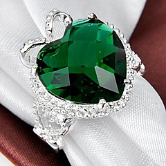 Unique Lady's Green Topaz Crystal  925 Silver Ring 1PC