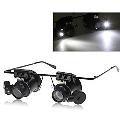 Dual Head 20x Magnification Glasses Type Binocular Magnifier with LED Light  for Watch Repair