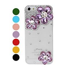 DIY irregulares Flores diamante com strass padrão caixa de plástico rígido para o iPhone 5/5S