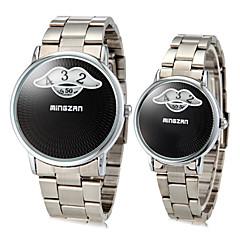 תבנית Vintage השפם של בני הזוג עגול חיוג סגסוגת בנד קוורץ אנלוגי האופנה Watch (מגוון צבעים)